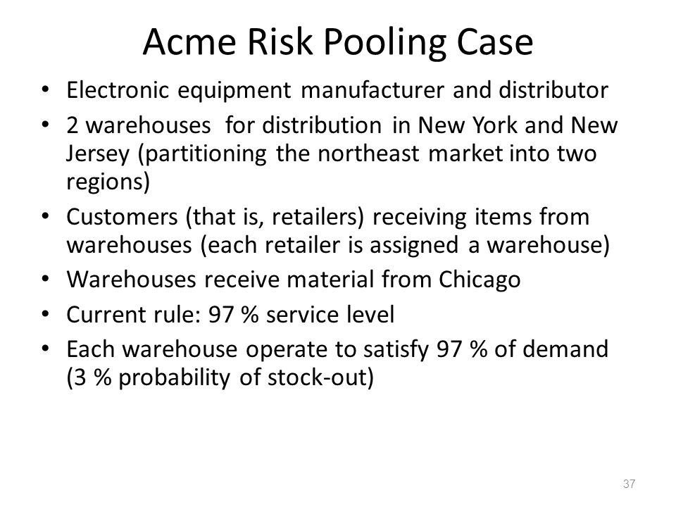 Acme Risk Pooling Case Electronic equipment manufacturer and distributor.