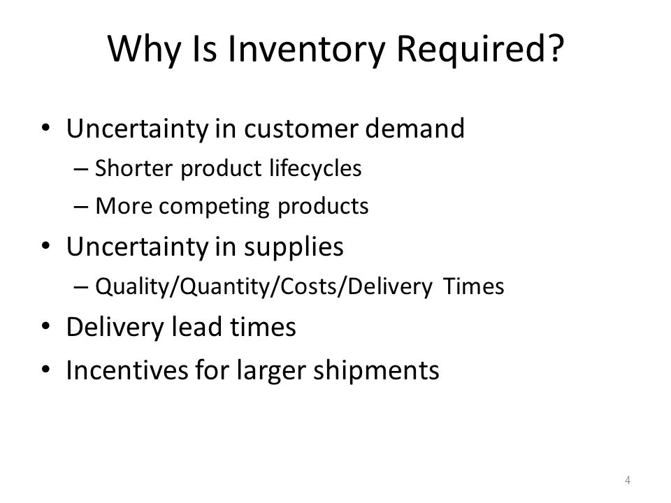 Why Is Inventory Required