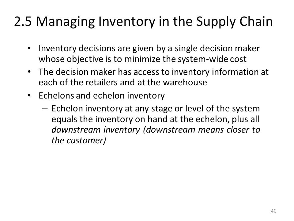 2.5 Managing Inventory in the Supply Chain