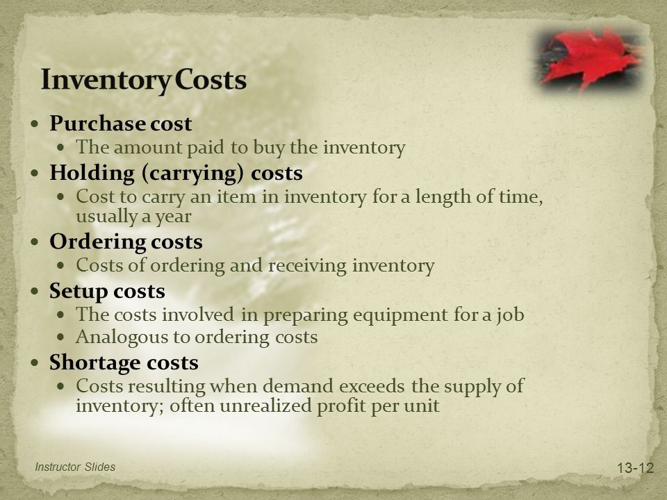 Inventory Costs Purchase cost Holding (carrying) costs Ordering costs