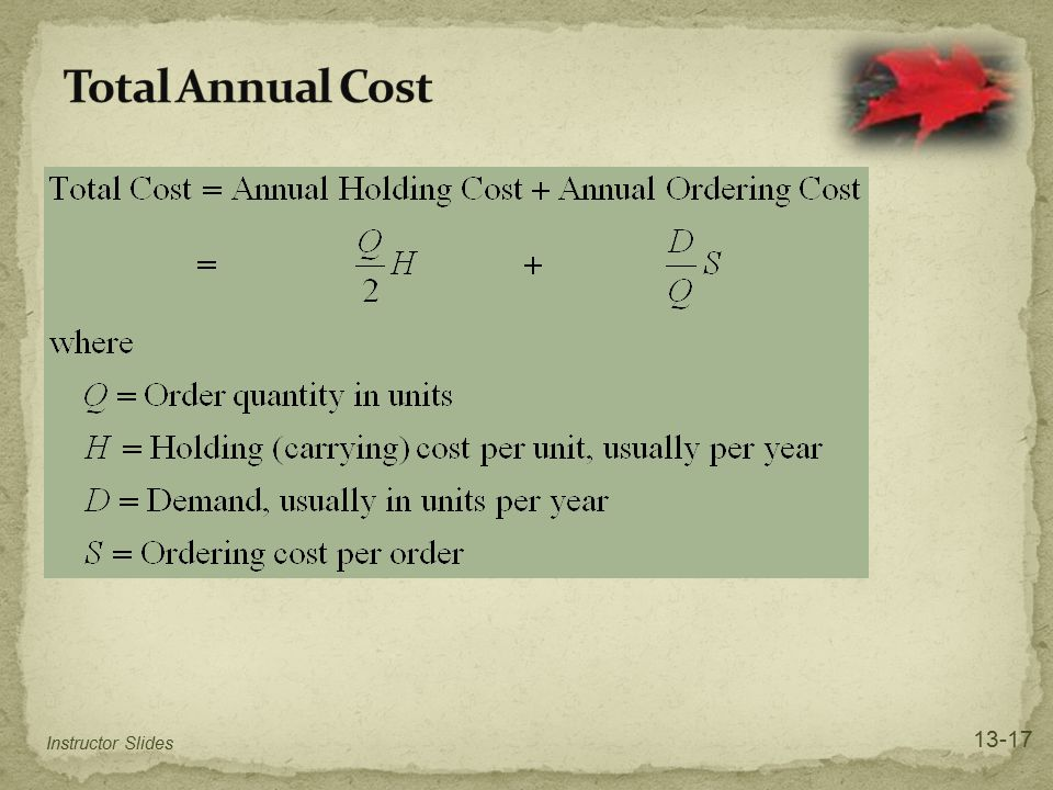 Total Annual Cost 13-17 Instructor Slides