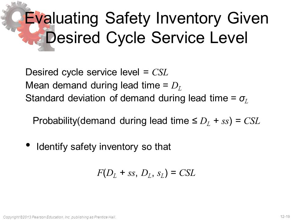 Evaluating Safety Inventory Given Desired Cycle Service Level
