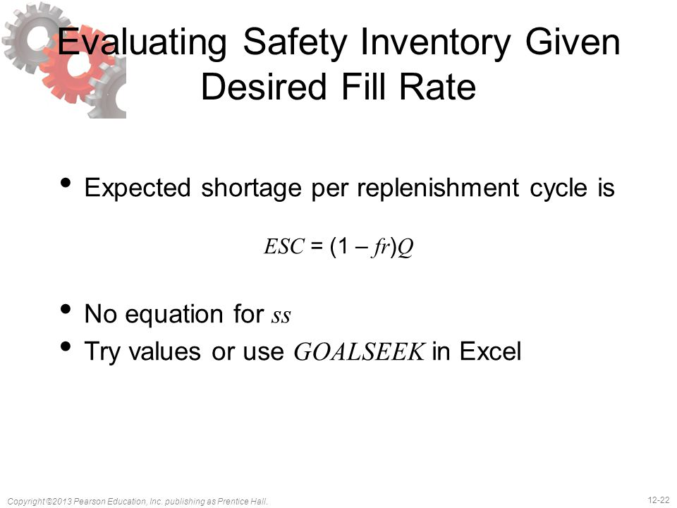 Evaluating Safety Inventory Given Desired Fill Rate