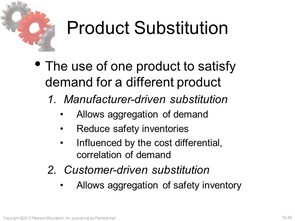 Product Substitution The use of one product to satisfy demand for a different product. Manufacturer-driven substitution.