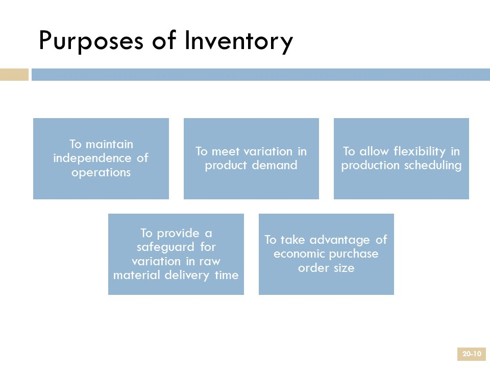 Purposes of Inventory To maintain independence of operations