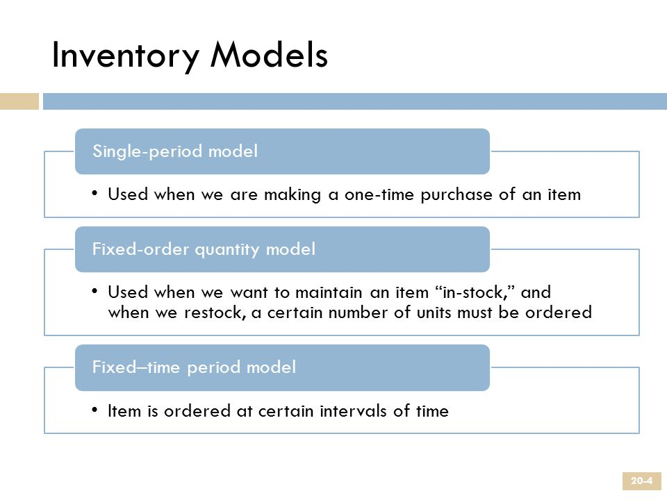 Inventory Models Single-period model