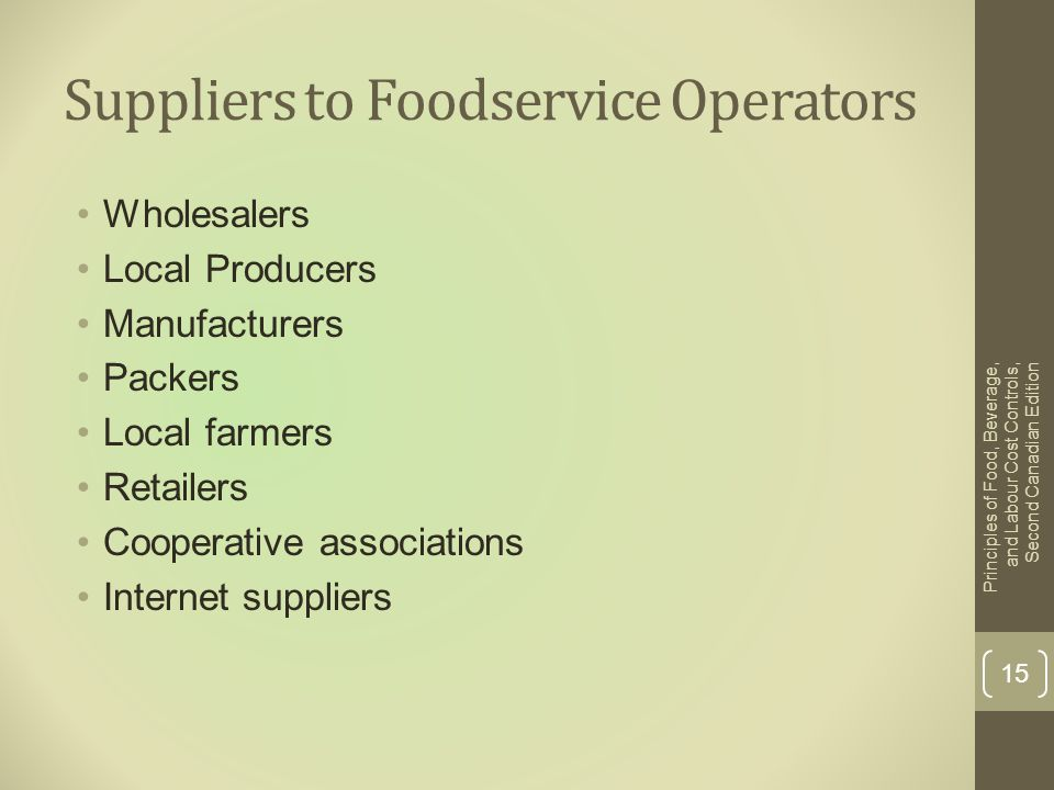 Suppliers to Foodservice Operators