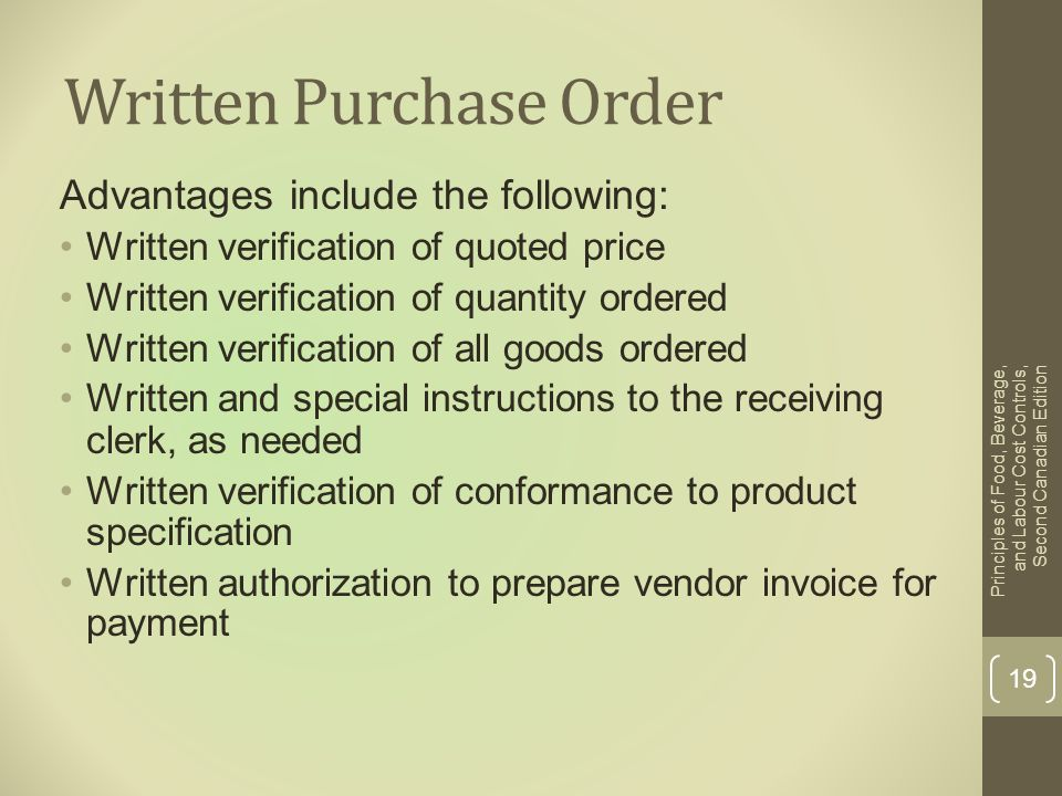 Written Purchase Order