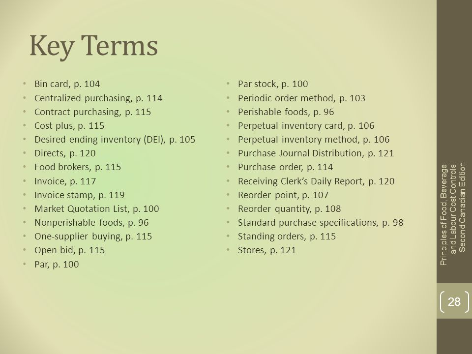 Key Terms Bin card, p. 104 Par stock, p. 100
