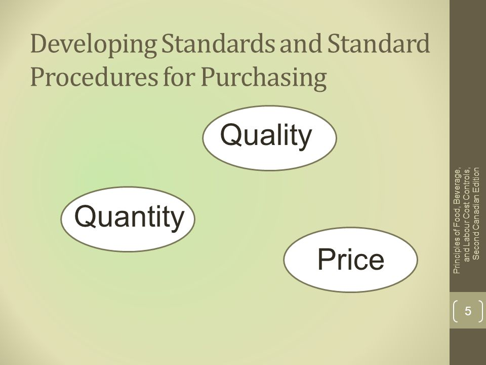 Developing Standards and Standard Procedures for Purchasing