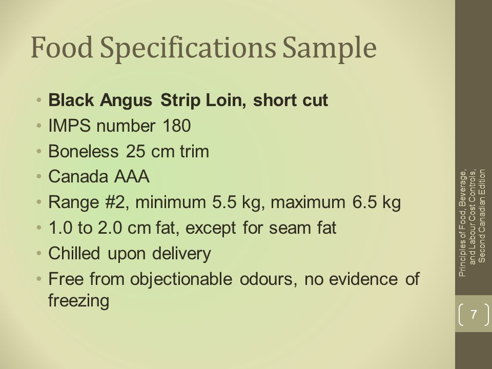 Food Specifications Sample