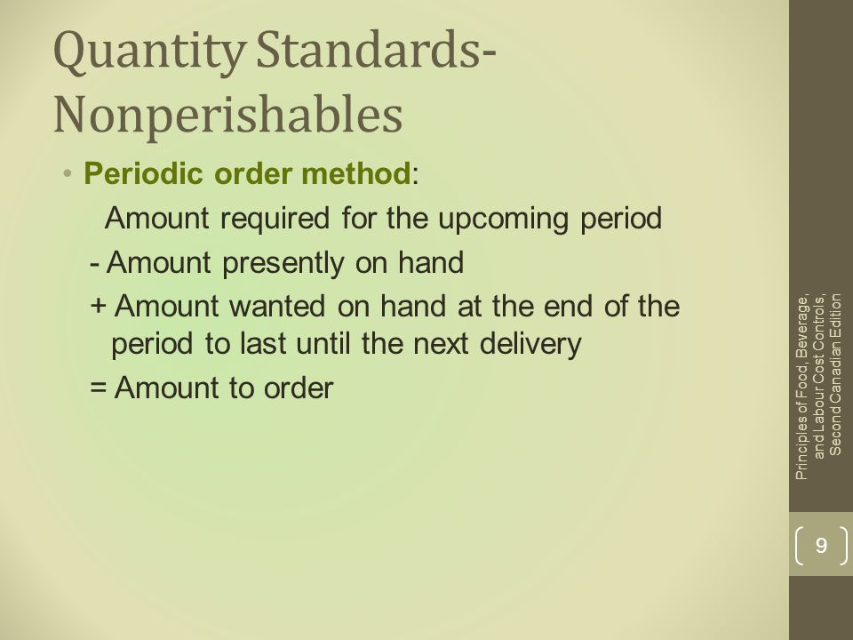Quantity Standards- Nonperishables
