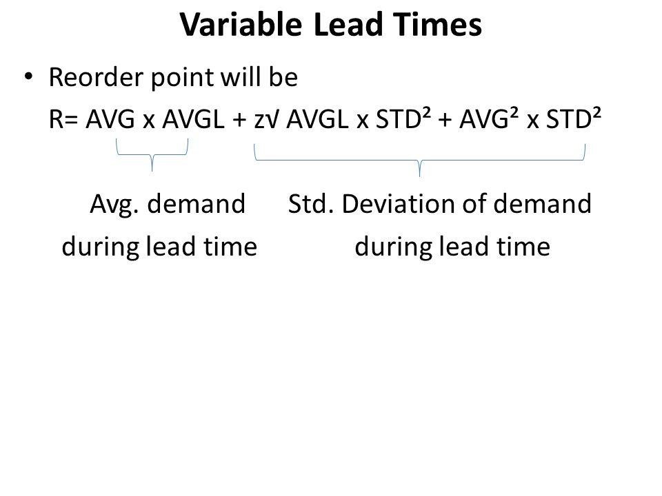 Variable Lead Times Reorder point will be