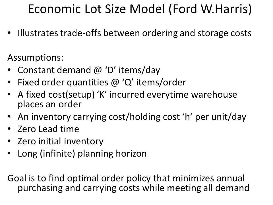 Economic Lot Size Model (Ford W.Harris)