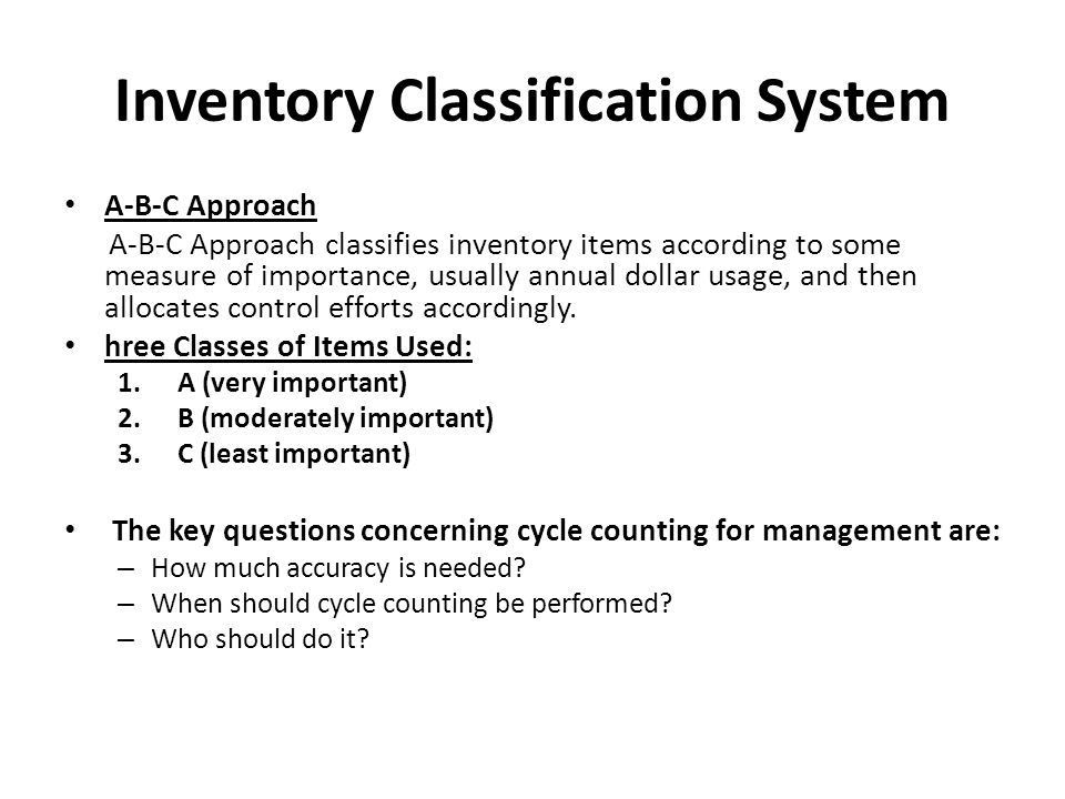 Inventory Classification System