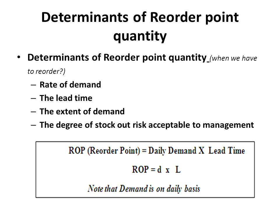 Determinants of Reorder point quantity