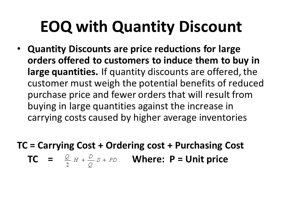 EOQ with Quantity Discount