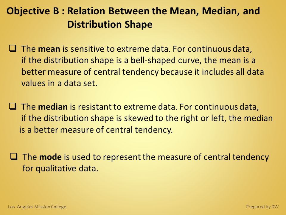 Objective B : Relation Between the Mean, Median, and Distribution Shape