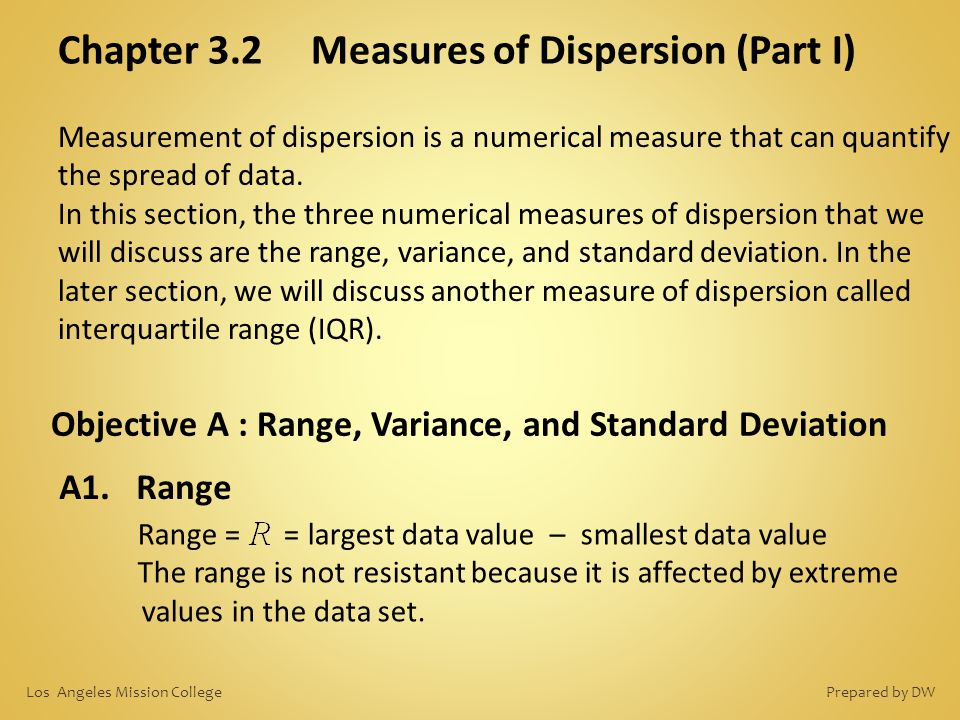 Chapter 3.2 Measures of Dispersion (Part I)