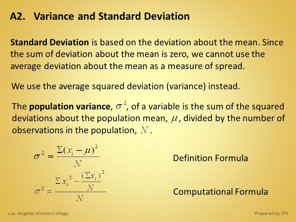A2. Variance and Standard Deviation