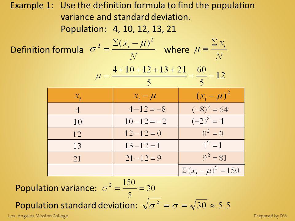 Population standard deviation: