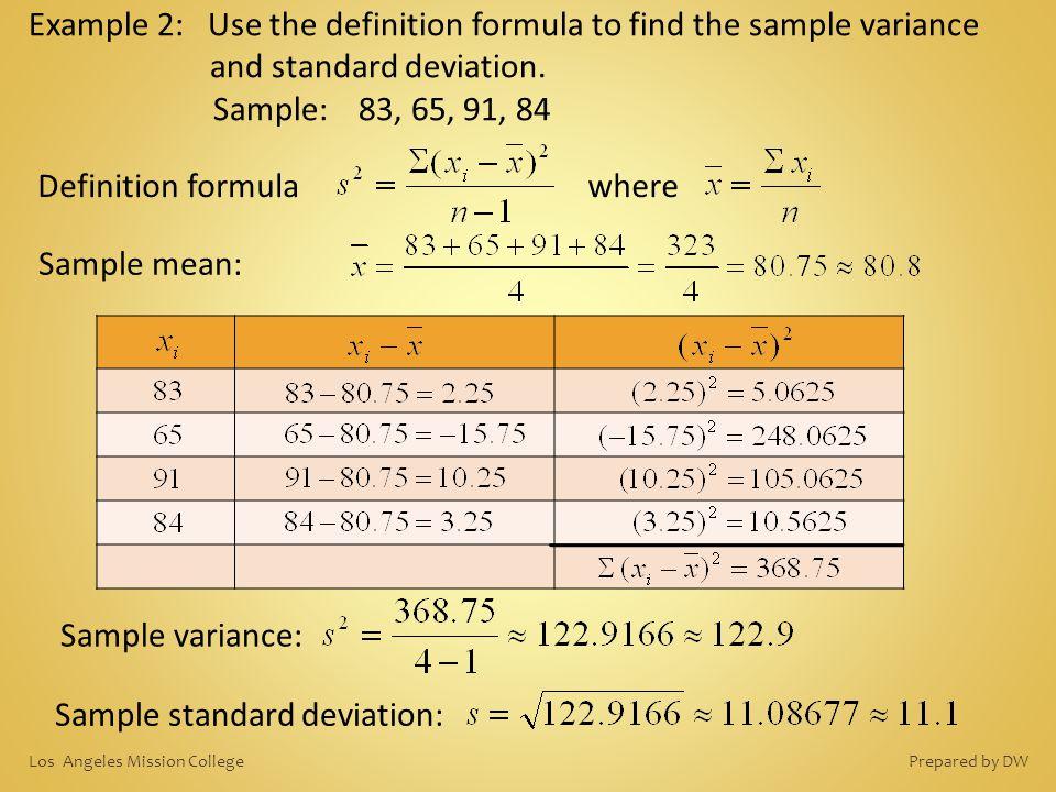 Sample standard deviation: