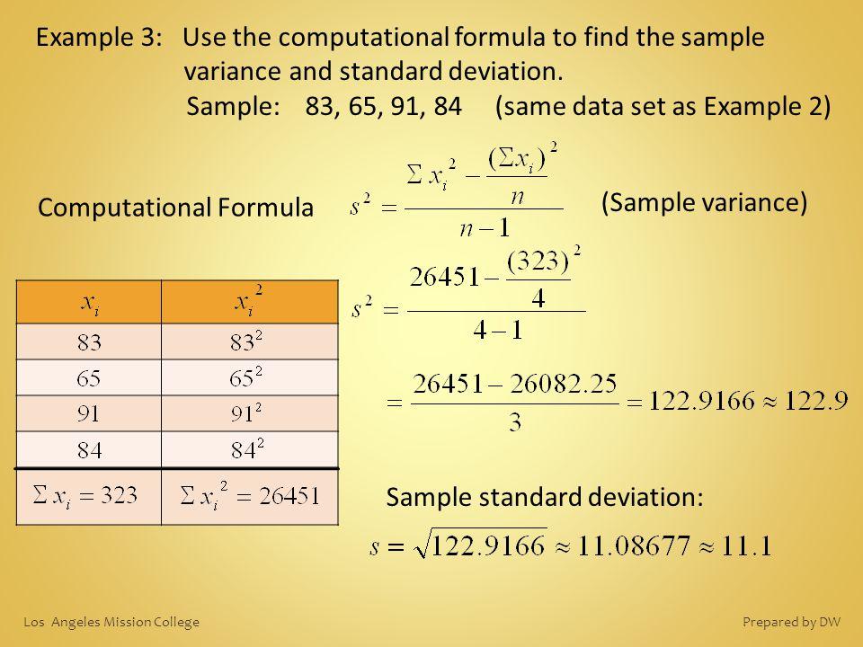Sample: 83, 65, 91, 84 (same data set as Example 2)