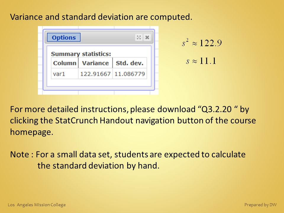 Variance and standard deviation are computed.