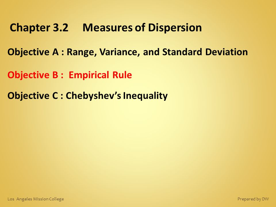 Chapter 3.2 Measures of Dispersion