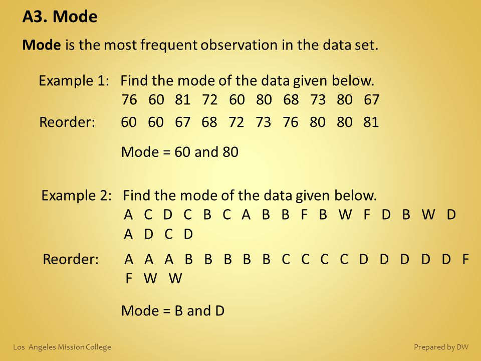 A3. Mode Mode is the most frequent observation in the data set.