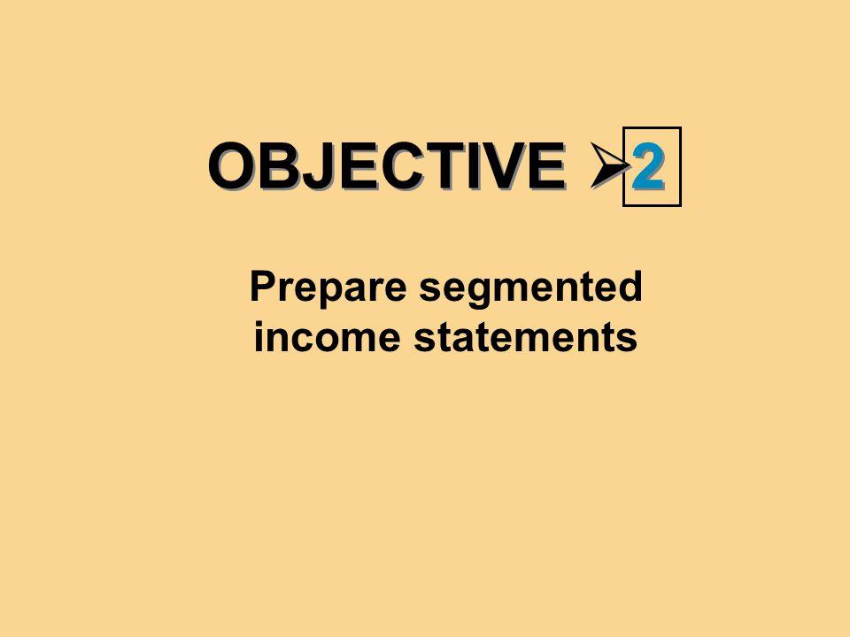 Prepare segmented income statements
