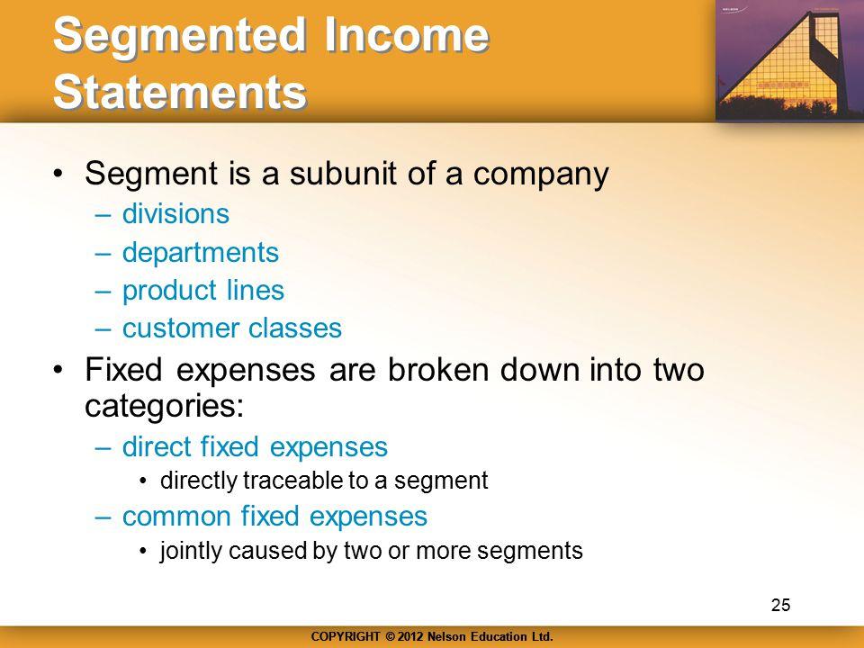 Segmented Income Statements