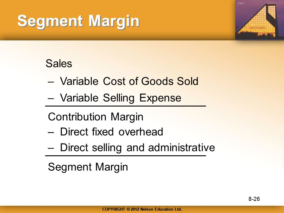Segment Margin Sales – Variable Cost of Goods Sold