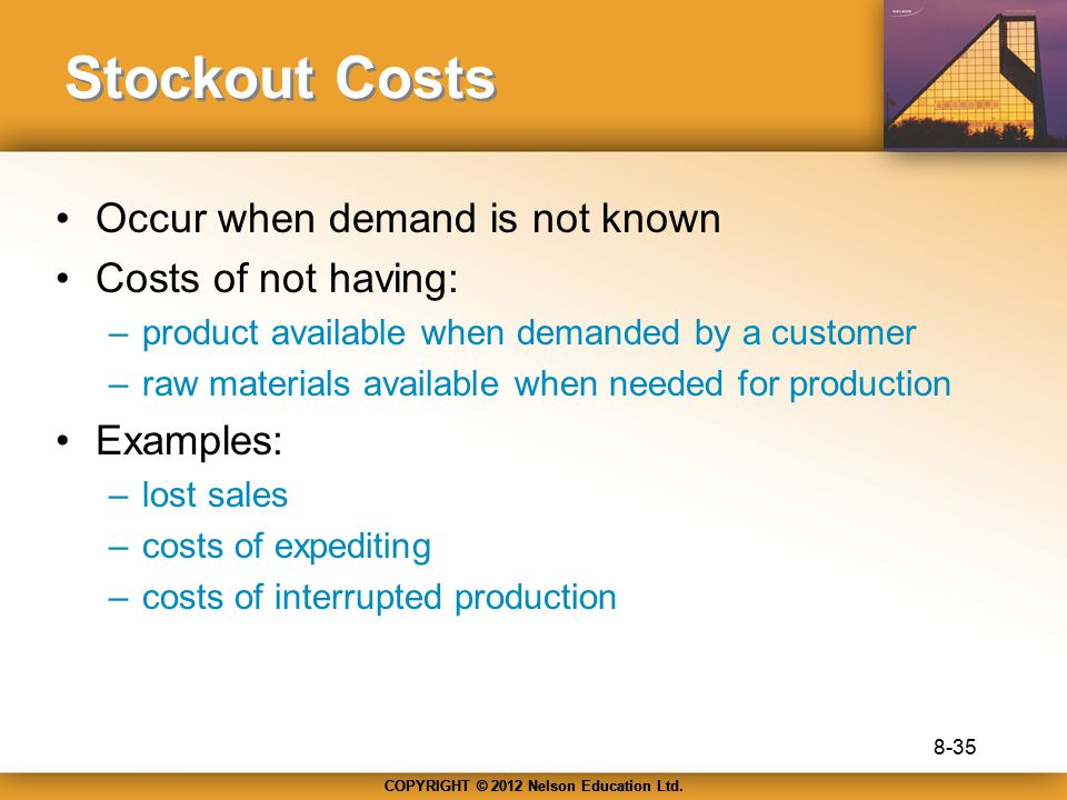 Stockout Costs Occur when demand is not known Costs of not having: