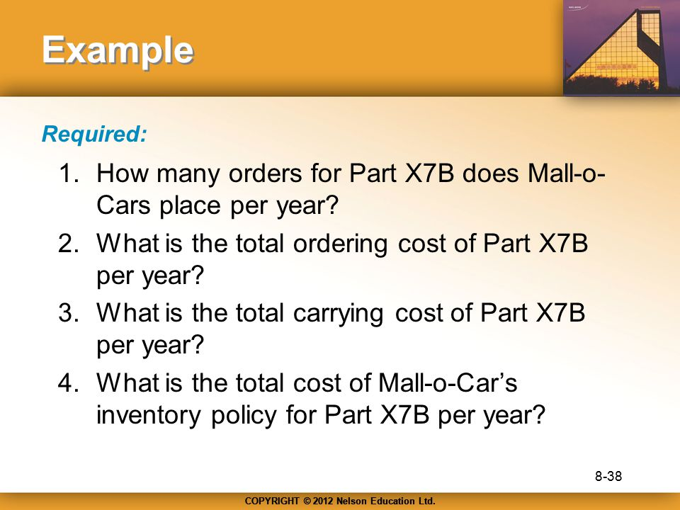 Example How many orders for Part X7B does Mall-o-Cars place per year