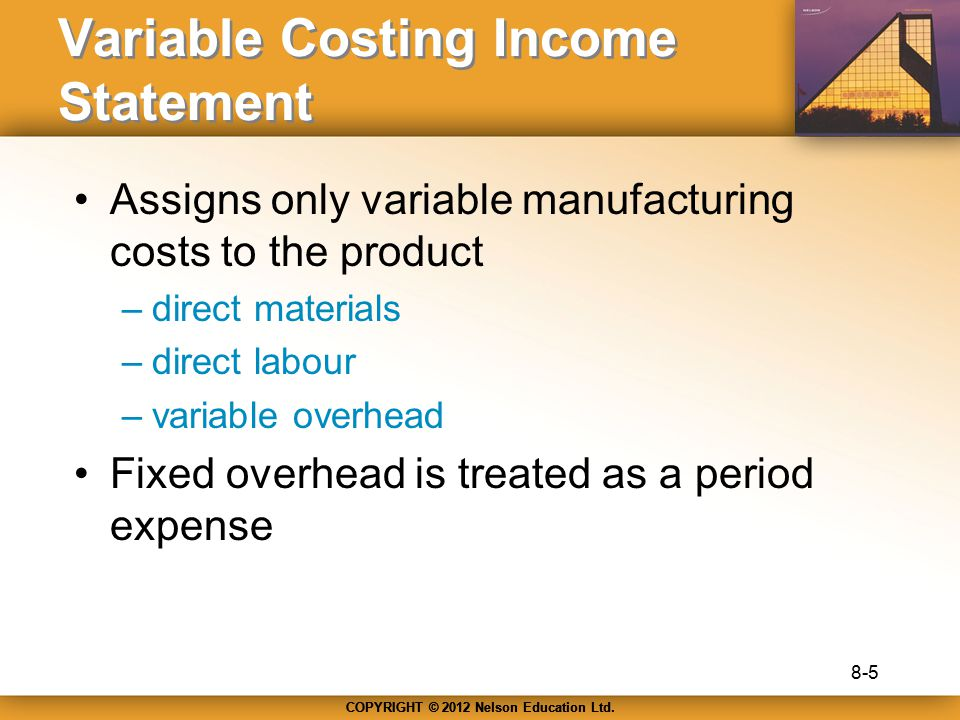 Variable Costing Income Statement