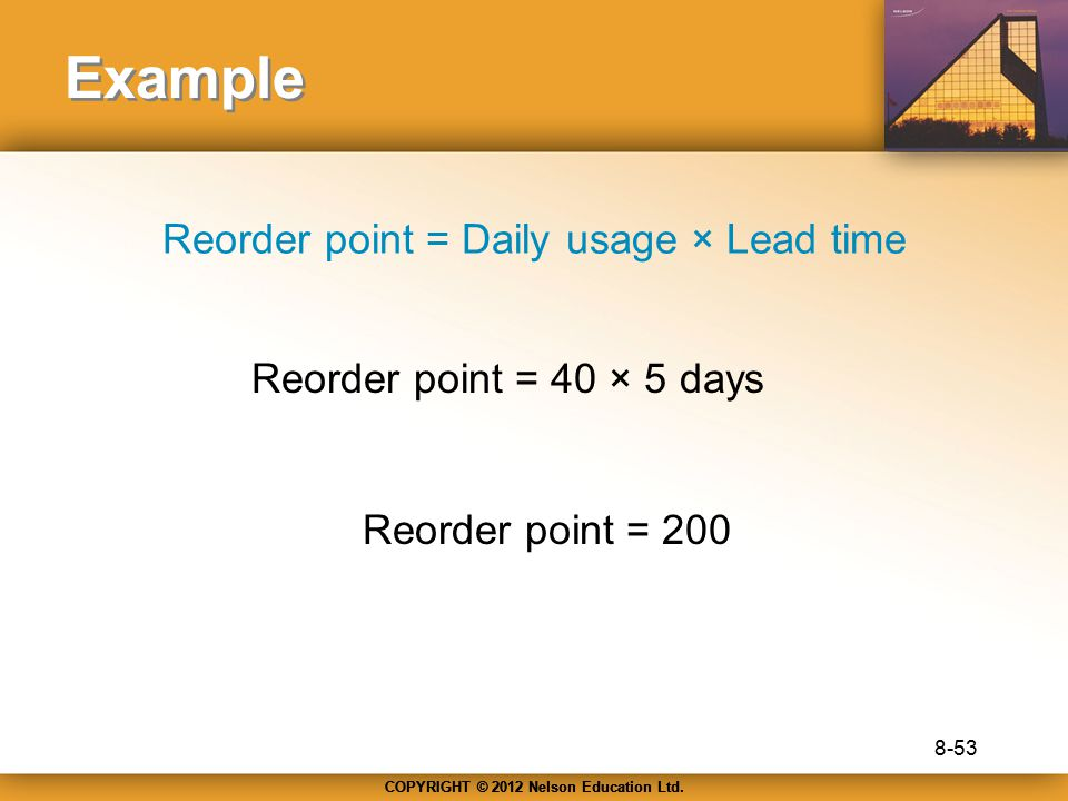 Reorder point = Daily usage × Lead time