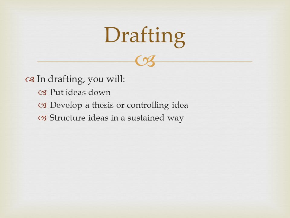 Drafting In drafting, you will: Put ideas down