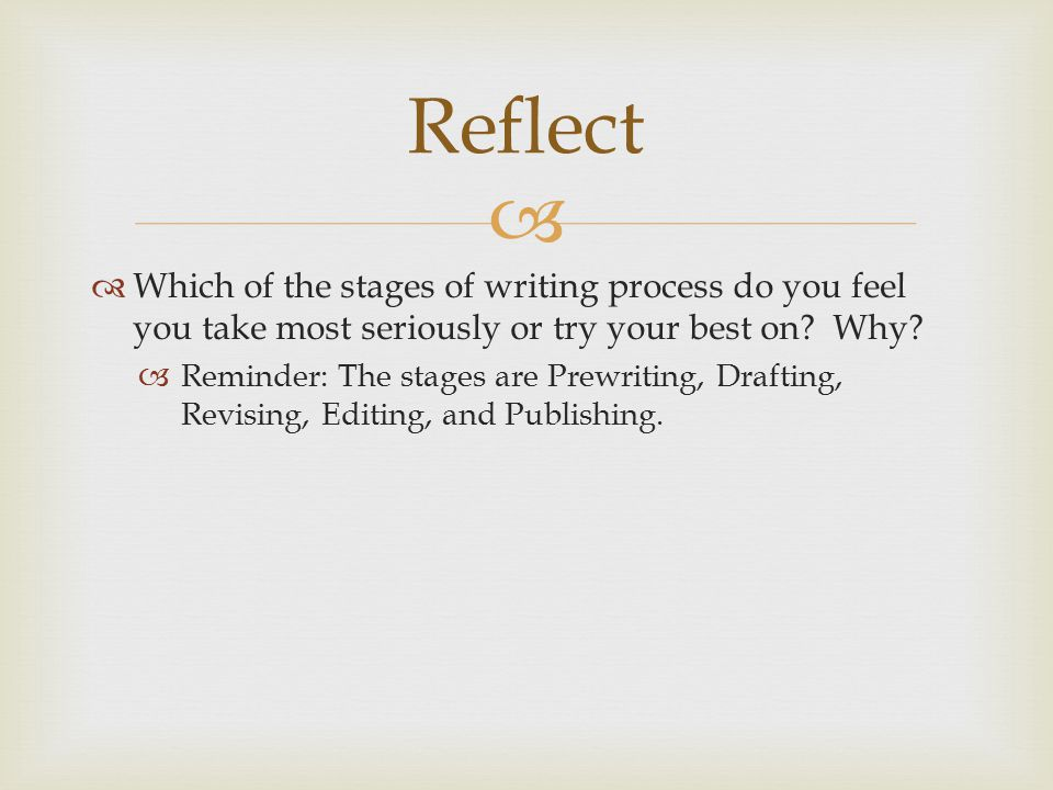 Reflect Which of the stages of writing process do you feel you take most seriously or try your best on Why