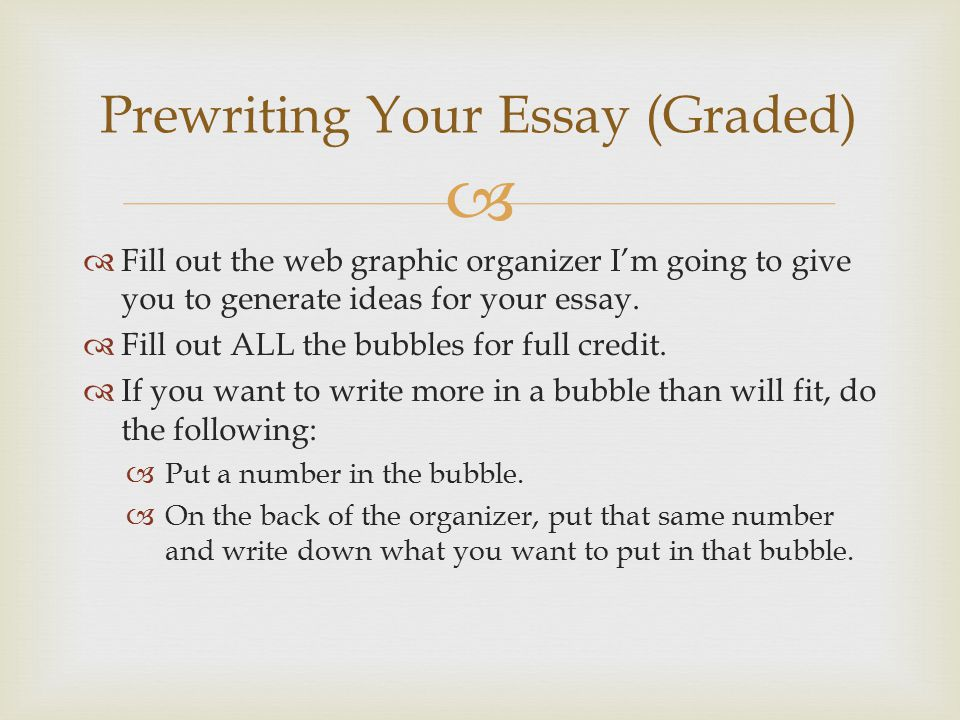 Prewriting Your Essay (Graded)