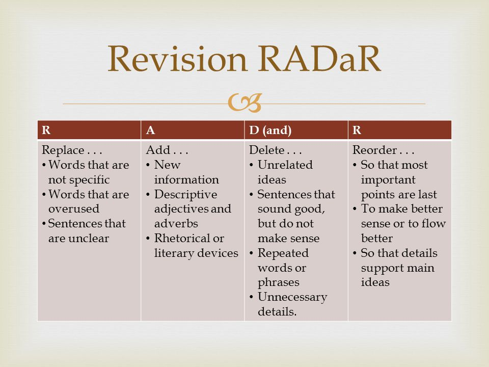Revision RADaR R A D (and) Replace . . . Words that are not specific