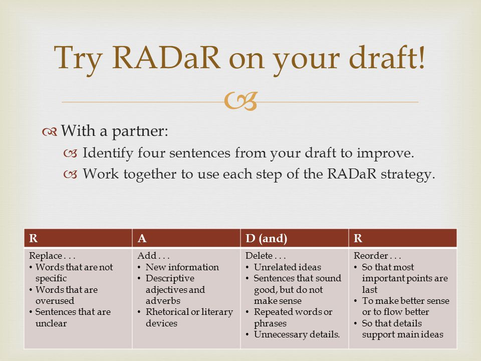 Try RADaR on your draft! With a partner: