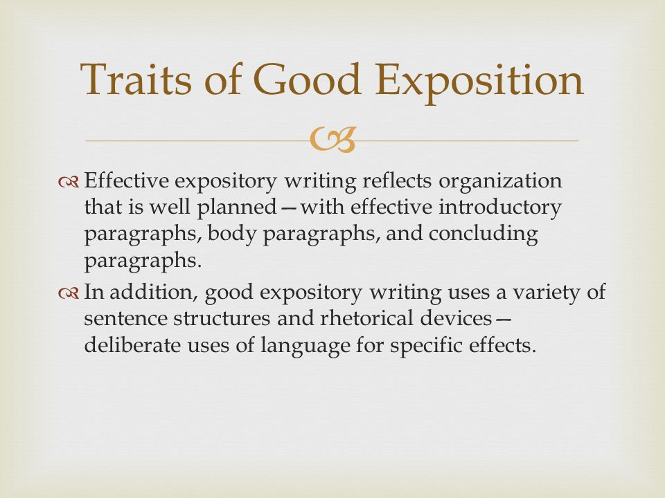 Traits of Good Exposition
