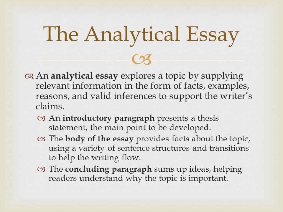 good analytical essay topics If you know these tools, assignments on any process analysis essay topics will be easy for you the problem is that even the easiest assignments can be daunting if you work part-time to pay your tuitions.