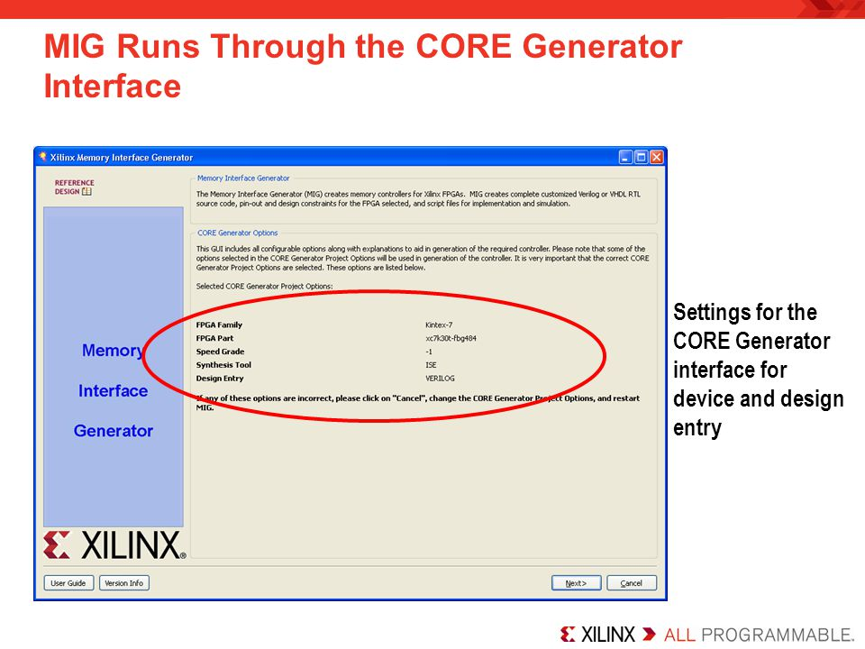 MIG Runs Through the CORE Generator Interface