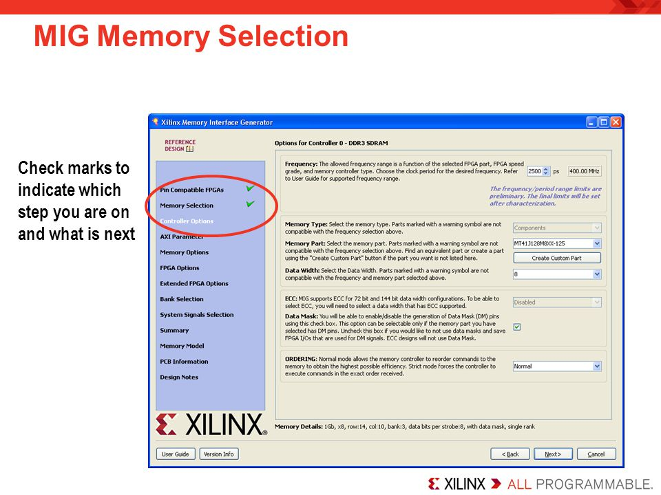 MIG Memory Selection Check marks to indicate which step you are on and what is next.