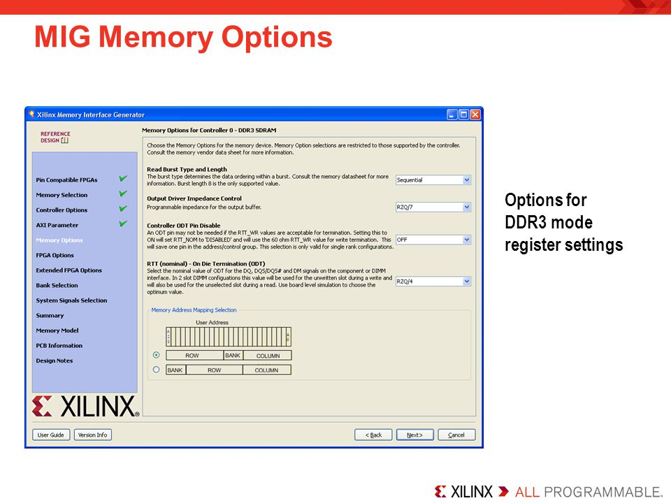 MIG Memory Options Options for DDR3 mode register settings