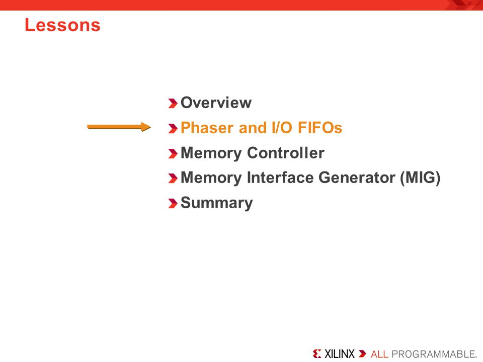 Lessons Overview Phaser and I/O FIFOs Memory Controller