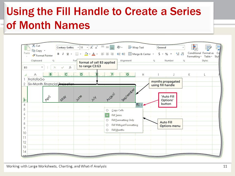 Using the Fill Handle to Create a Series of Month Names