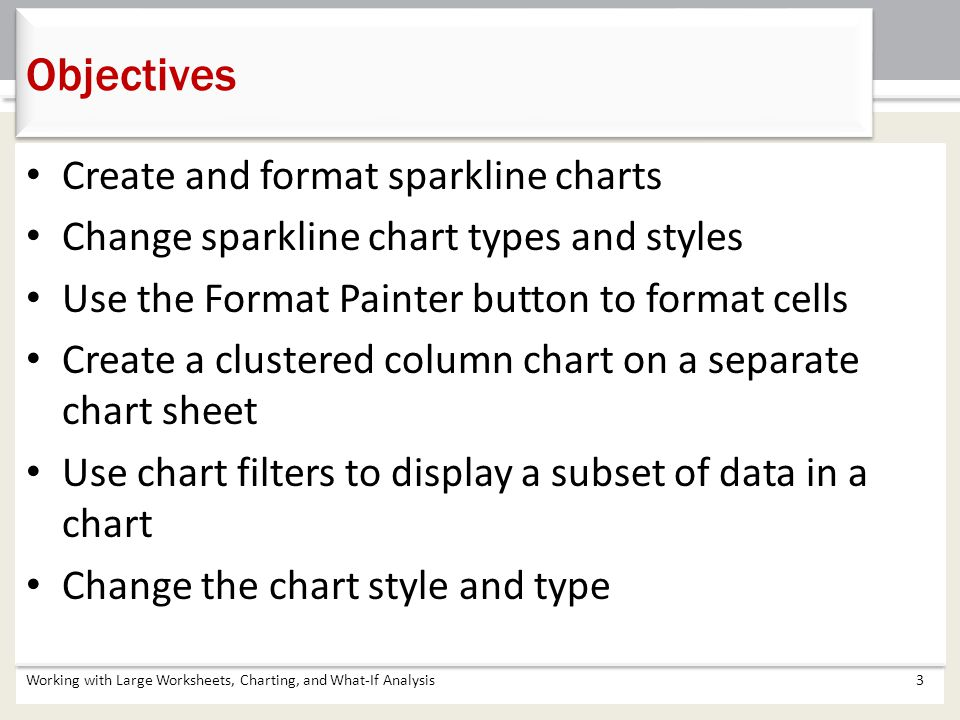 Objectives Create and format sparkline charts